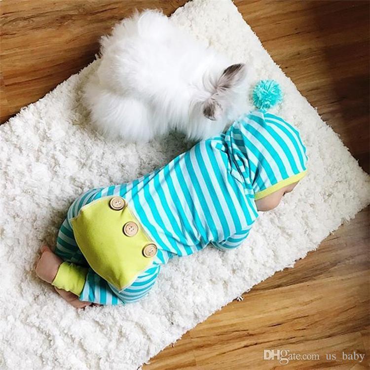 Macacão listrado recém-nascido Do Bebê Das Meninas Dos Meninos Super Bonito Stripe Roupas Com Capuz Romper Crianças Traje Roupas Macacão