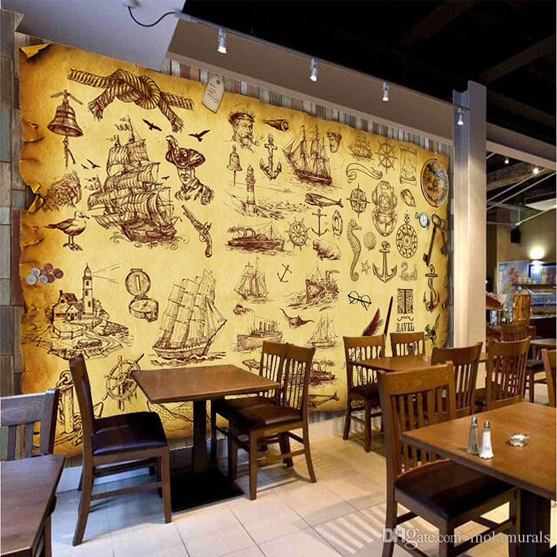 Custom Retro Nostalgia Graffiti Murals Wallpaper Coffee