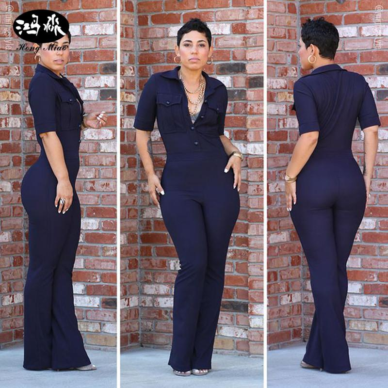 aa555fee759 2019 Wholesale 2017 New Style Fashion Women Jumpsuits Rompers Navy Blue  Bodysuit Short Sleeve Office Jumpsuits Overalls Slim Dashiki Jumpsuits From  Cagney