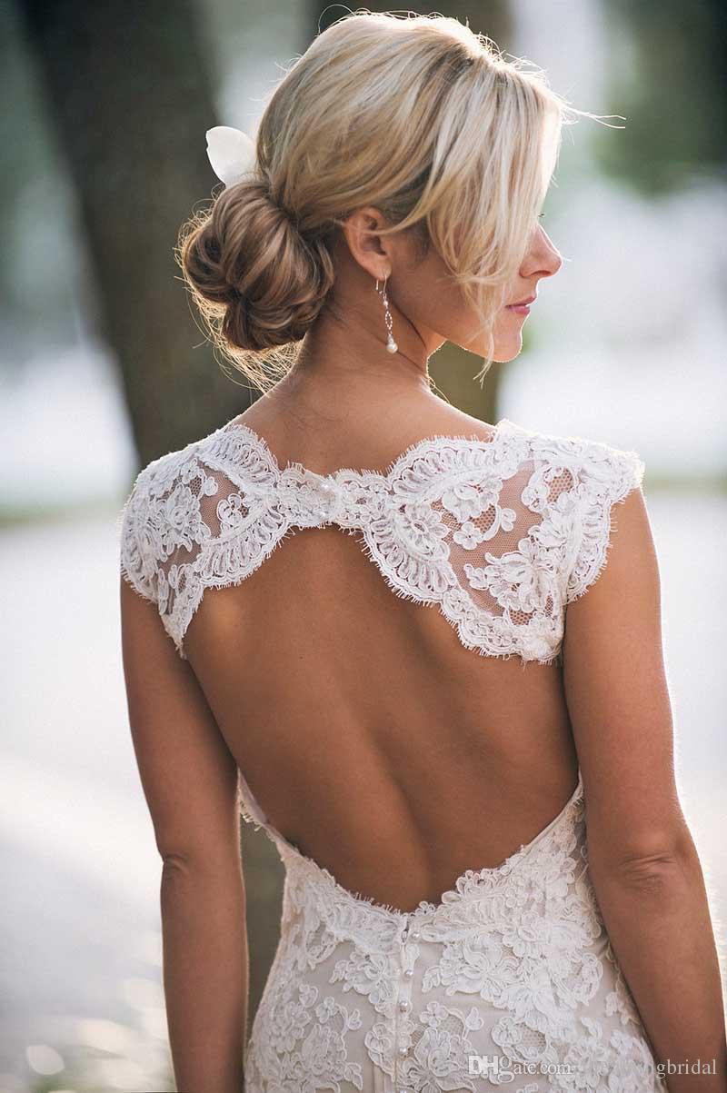 Günstige Brautkleider Schatz Schatz Cap Sleeves Bodenlangen Open Back Brautkleid Full Lace Brautkleider Sweep Zug