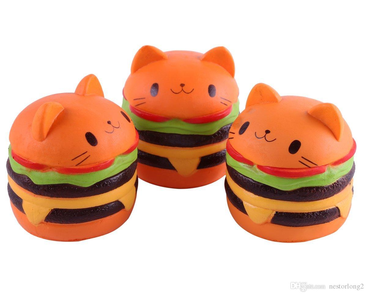 11CM Jumbo Squishy Cat Hamburger Cream Scented Slow Rising Decompression Squeeze Toys Stress Relief Toy Hop Props Decorative Large Props