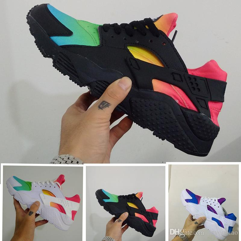 1421ffd48f12 Rainbow Huaraches Sports Shoes For Men   Women Blue Black White Pink  Lightweight Breathable Huraches Athletic Running Footwear Cheap Trainer  Girls Running ...