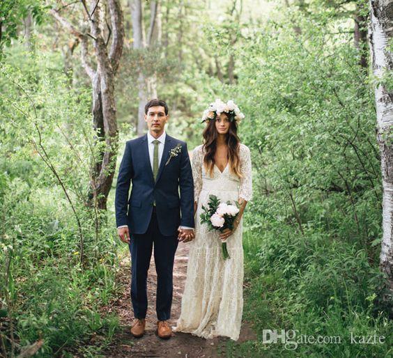 Vintage-Inspired Hippie Maxi Crochet Lace Bohemian Long Sleeve Wedding Dresses modest V-neck Beach Boho Cheap Wedding Gowns Plus Size