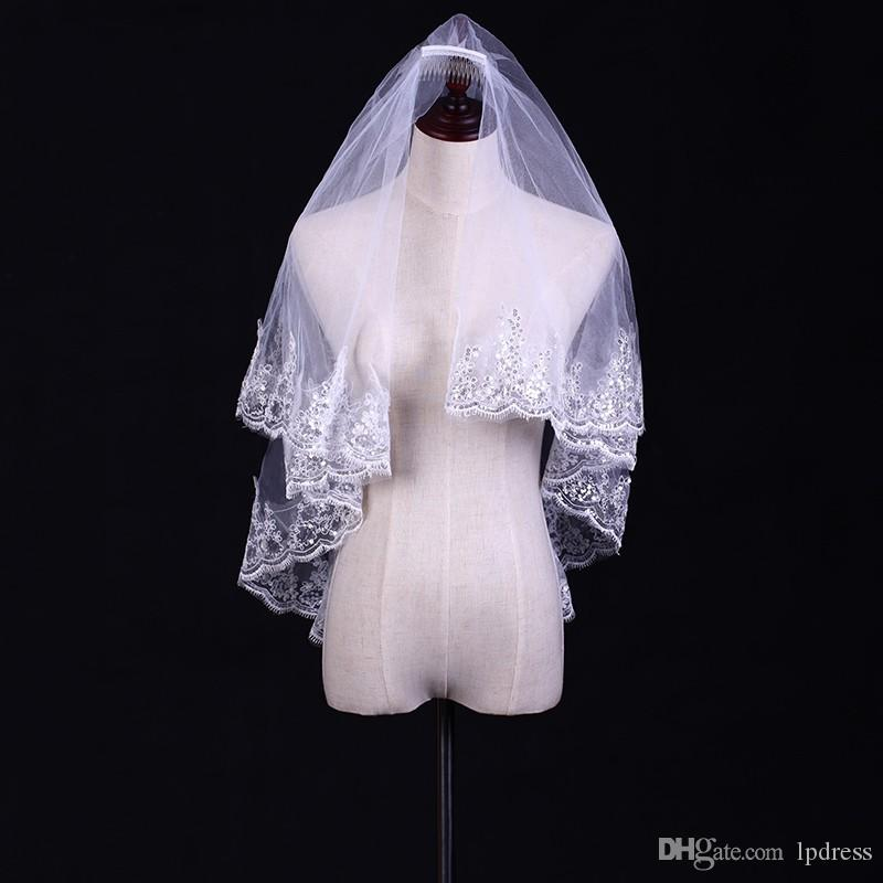 Bling Wedding Veils Short White Bridal Soft Tulle With Shining Sequins 15m Comb Accessories Cheap Veil