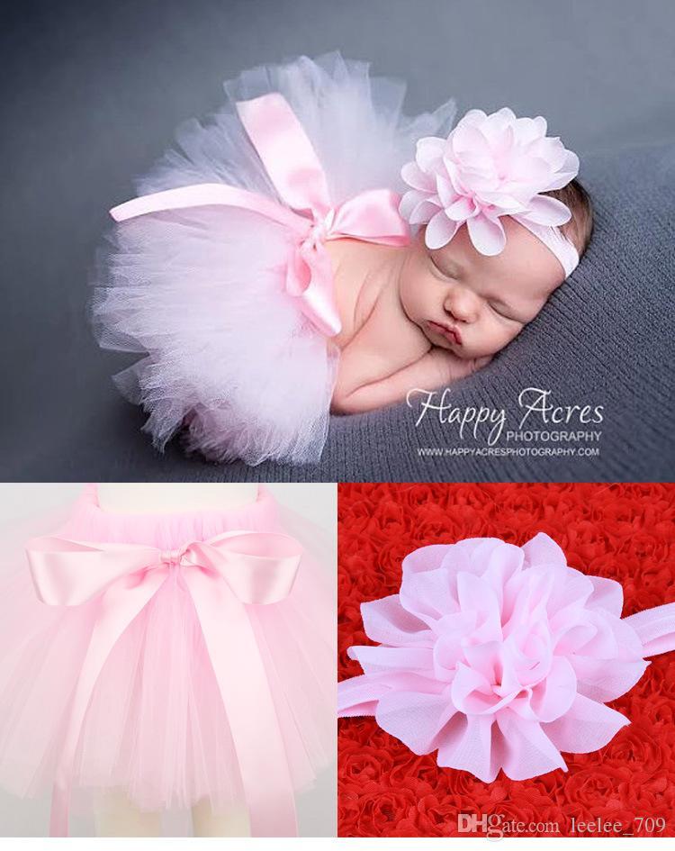 7 renkler Yenidoğan Bebek ilmek dantel tutu elbise 2 adet set çiçek bandı + tutu etek bebekler fotoğraf fotoğrafçılığı sahne için aksesuarlar suits 0-3 T