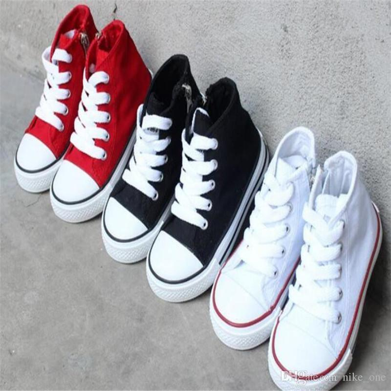 Acquista Scarpe Di Tela Bambini Ragazze Sport Bambini Zipper Scarpe Da  Corsa Bianche Scarpe Da Bambino Sneakers Bambini Alta Top Fondo In Gomma  Taglia A ... 49e223bfee9