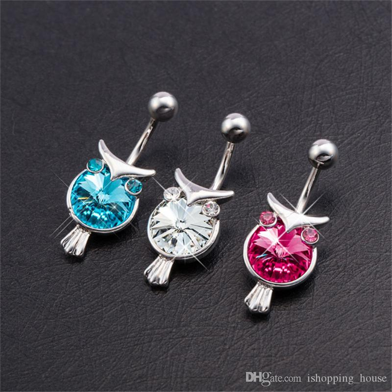 White Blue Pink Lovely Super Cute Owl Belly Navel Ring Body Jewelry Piercing Sweet Belly Ring for Dancing Girls BR-100