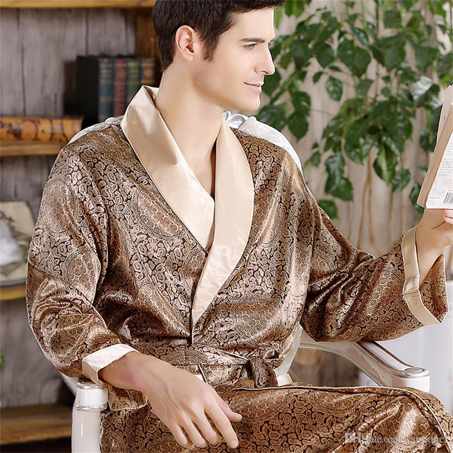 Cheap Men s Silk Bath Robe Spring Long-sleeved Plus Size Bathrobes Male  Print Geometric Robes V-neck Satin Sleepwear Nightgown adc6714a2