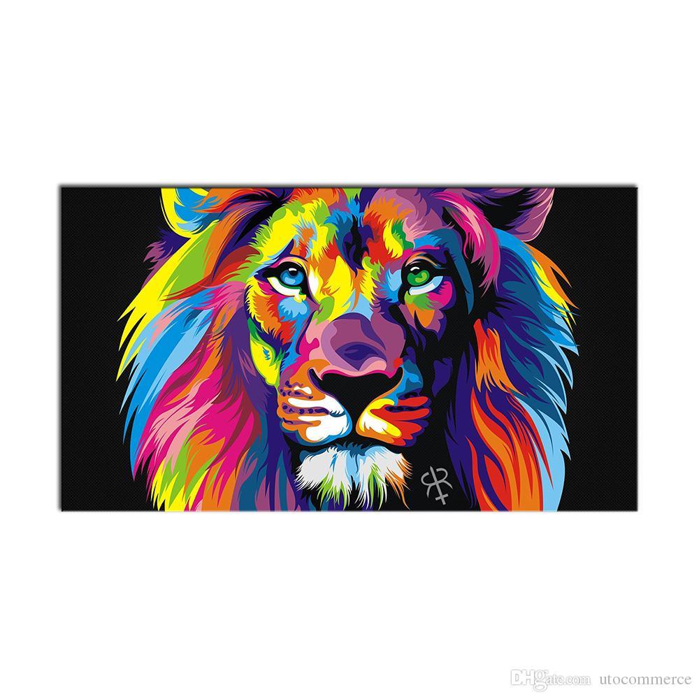 Satın Al 1 Adet Modern Duvar Sanatı Resim Renkli Hayvan Aslan Oturma