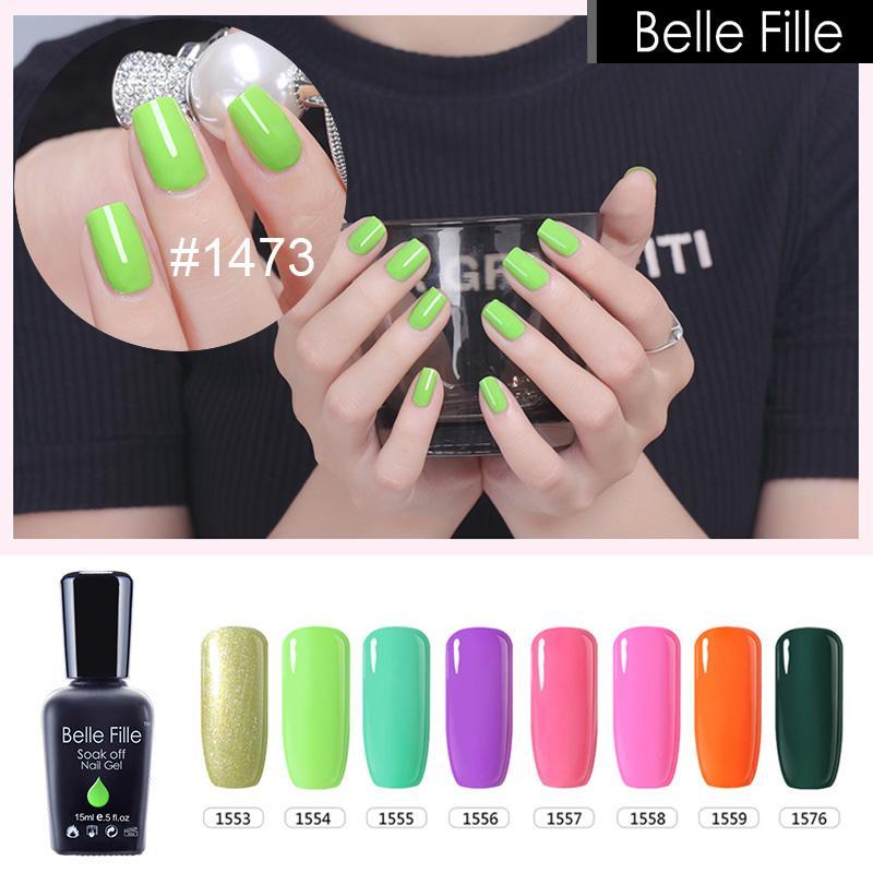 Wholesale Belle Fille 15ml Gel Nail Polish Fluorescent Colors Uv Gel ...