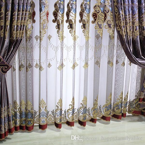 blackout curtains living room drapes valance curtains bedroom window shades embroidery elegant european curtain wholesale per metergauze