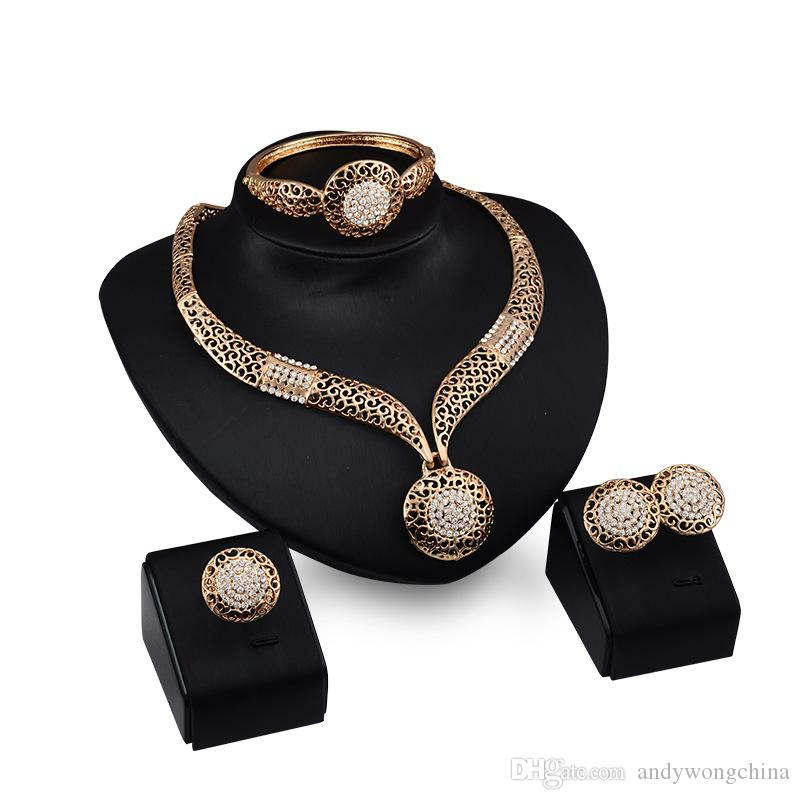 Luxurious Hollow Bead Necklace Pendant Fashion African Beads Jewelry Set 18K Gold Necklace Earrings Bracelet Rings Wedding Sets For Women