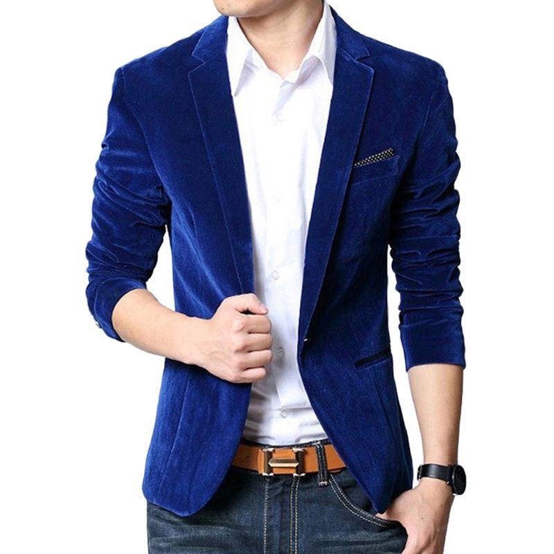 2019 Blazer Men Slim Fit Suit Jacket Costume Homme Black Navy Blue