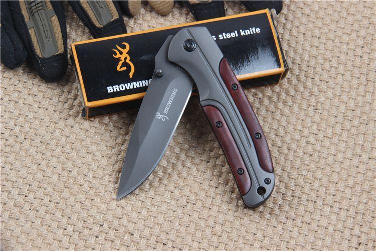Browning DA43 Klappmesser 3cr13mov Stahlklinge rot mit Holzgriff Outdoor Survival Camping EDC Messer