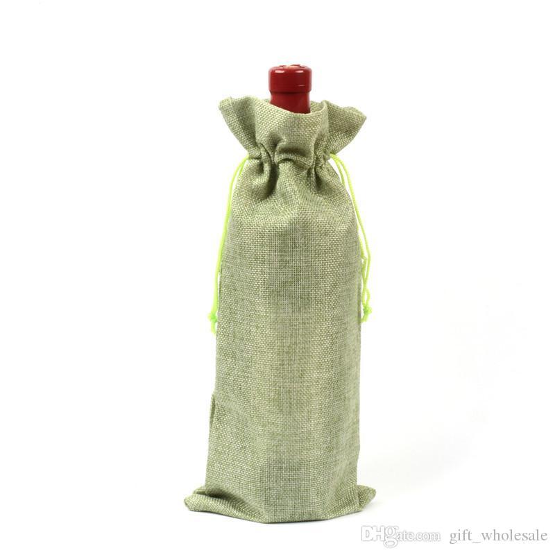 18 Farben Jute Weinflasche Taschen Kordelbeutel 15cmx35cm 6