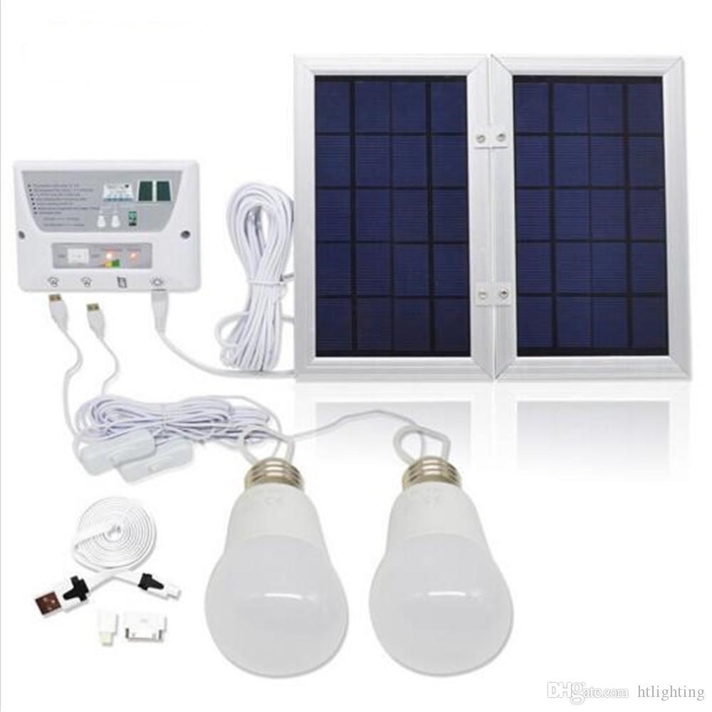 6W Panel Solar 8000 mah Batería, Equipo de Sistema de Iluminación de Emergencia Solar Móvil, Lámpara de Luz Solar para Interior, con 2 Bombillas