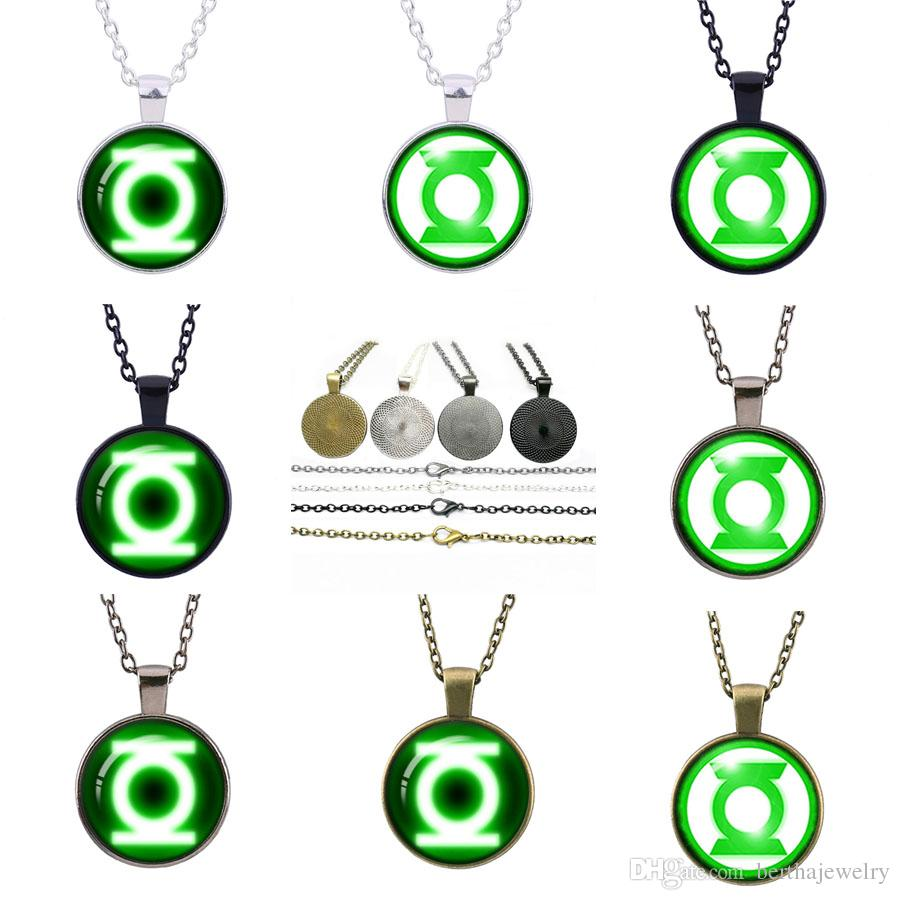 American hero Green Lantern Hot sale restore ancient pendant sweater necklace glass Time gem necklace Children's Jewelry Best Gifts