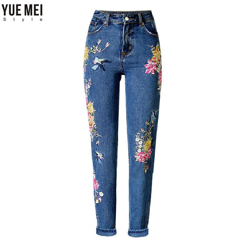 1164347fd08236 Acquista All'ingrosso Abbigliamento BF Donna Jeans Vita Alta Uccello  Floreale Ricamo 3D Pantaloni A Vita Alta Donna Dritto Pantaloni Jeans  Inferiori A ...