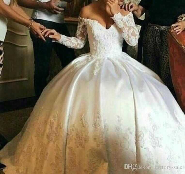 6b6db63ee483 2018 New Design Ball Gown Wedding Dresses Off Shoulder Long Sleeves Lace  Appliques Puffy Satin Beads Floor Length Vestidos De Novia Simple Backless  Wedding ...