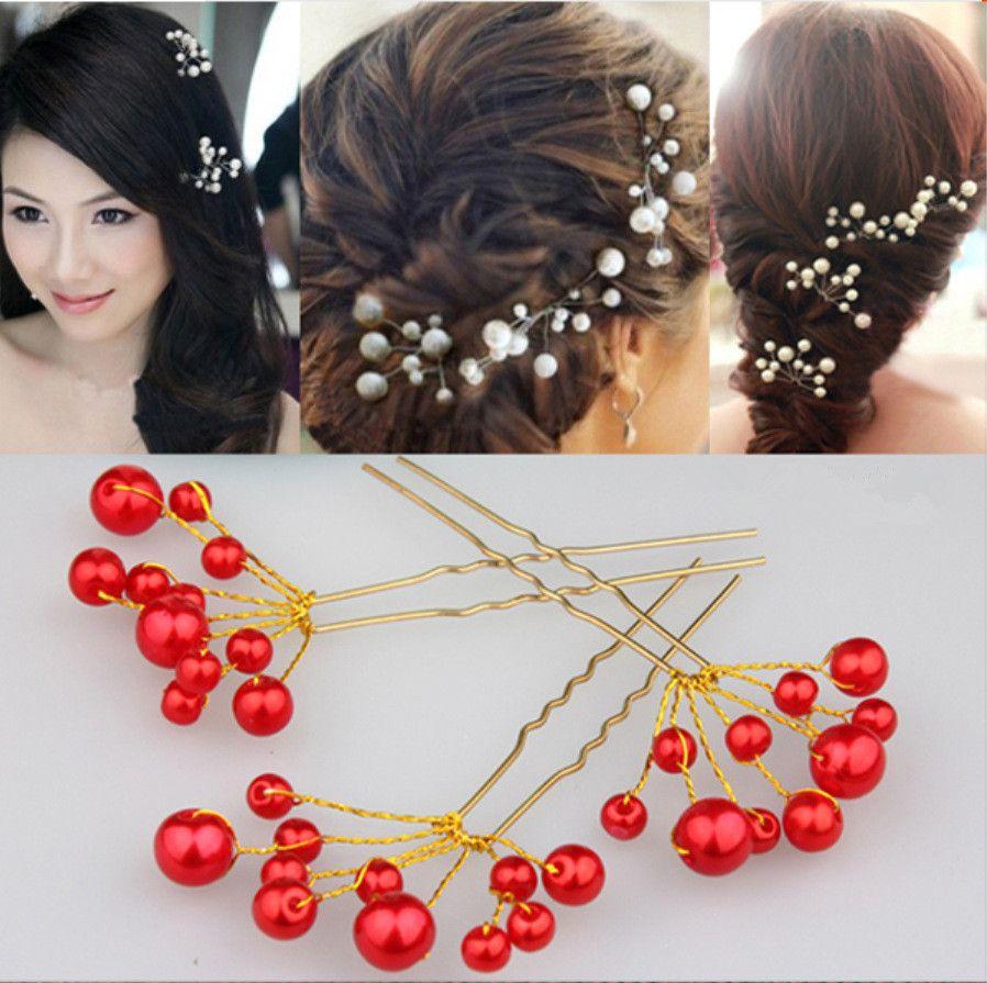 Crystal Pearl Flower Bridal Hairpins Wedding Hair Jewelry Bridesmaid Hair Pins Clips for Bride Hair Accessories
