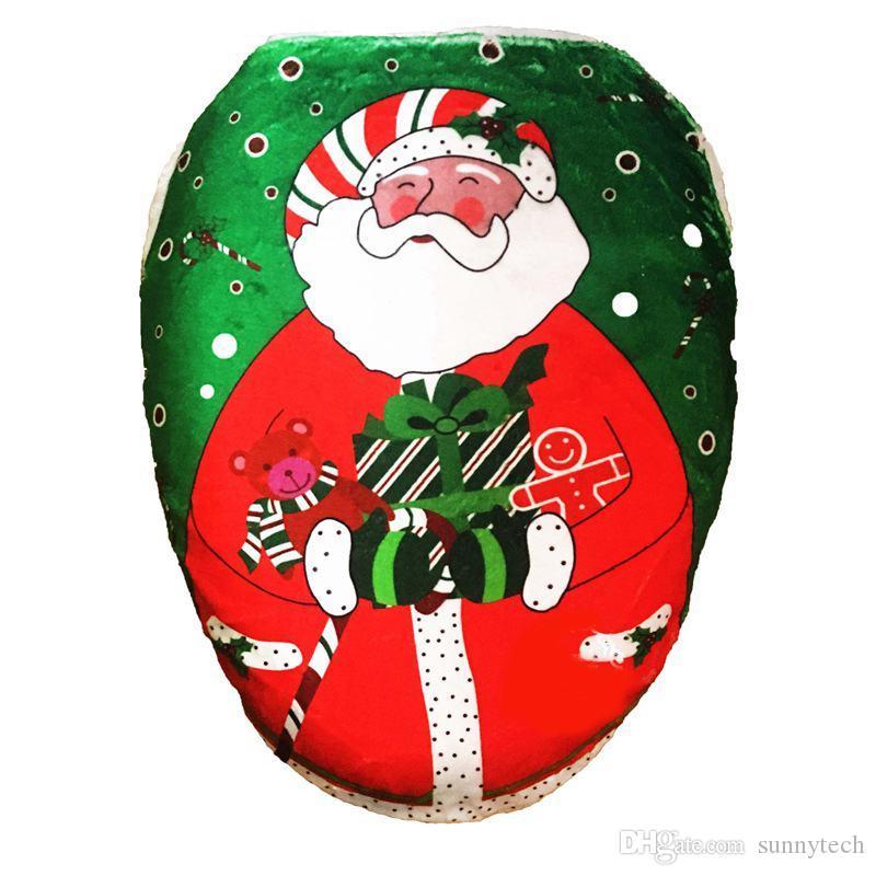 Fancy Christmas Toilet Seat Cover Santa Claus Pattern Bathroom Home Decoration Toilet Chair Ornaments Festival Decorations