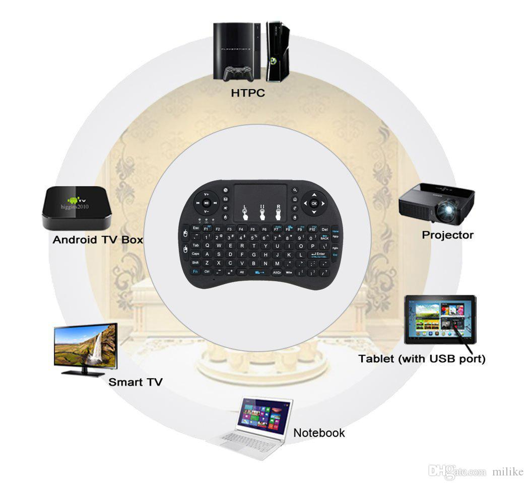 Air Mouse Teclado de mano inalámbrico Mini I8 Control remoto con panel táctil de 2.4 GHz para MX CS918 MXIII a5x TV BOX Juego Jugar Tablet PC
