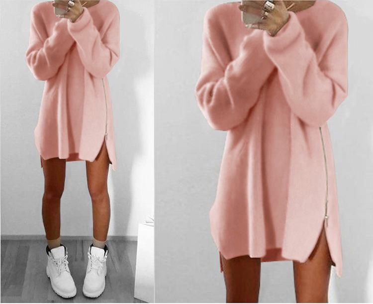 Sexy Womens Ladies Winter Long Sleeve zipper Jumper Tops Knitted Oversized Baggy Sweater Casual Loose Tunic Jumpers Mini shirt Dress ONY