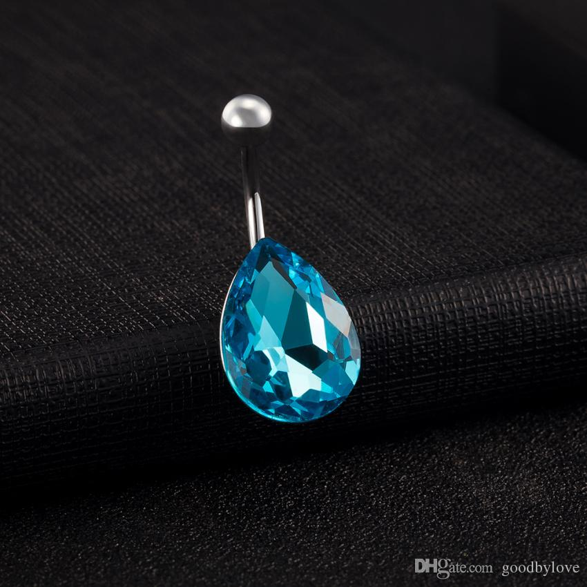 New Stainless Steel Created Blue Stone Teardrop Fashion Body Jewelry Piercing Navel Ring Bell Button Rings for Women Hot Gift