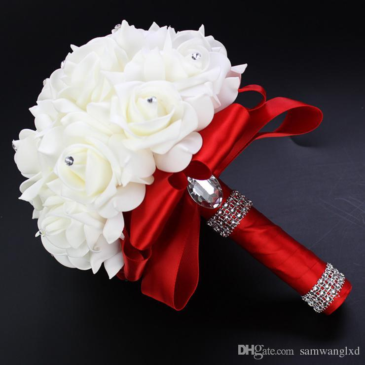 Wedding Bouquet Crystal Flowers: 2017 2016 Wedding Flowers Bridal Bouquets Red Artificial