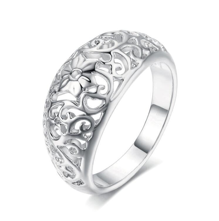 Top Quality Flower Hollowing Craft Rose Gold Color Ring Fashion Jewelry Full Sizes Wholesale