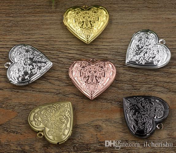 29*4.5MM Silver/antique bronze/rose gold/black gun heart photo locket brass charms jewelry metal flower picture frame pendants wish box