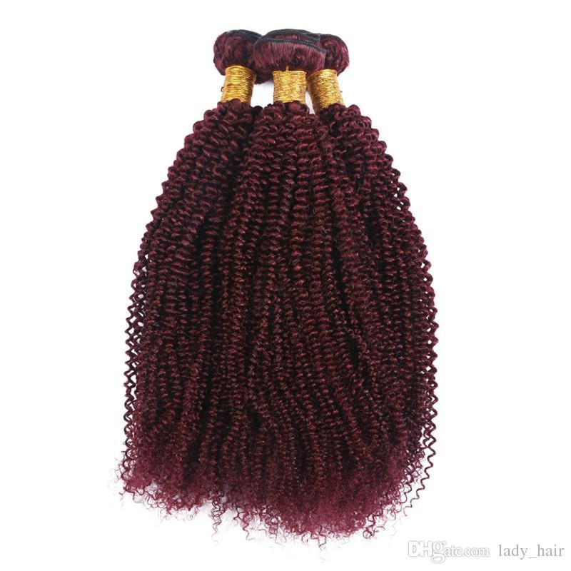 "Virgin Brazilian Wine Red Human Hair Kinky Curly Weaves Extensions 10-30"" Tight Curly #99J Burgundy Human Hair Bundles Tangle Free"