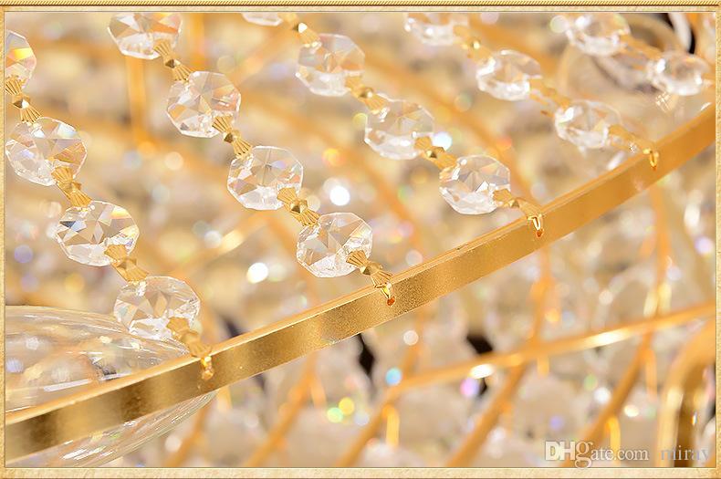 مزدوج الطابق الثريا فندق اللوبي الكريستال مصباح فيلا غرفة المعيشة الذهبي كريستال الثريا الثريا مصباح الديكور الداخلي
