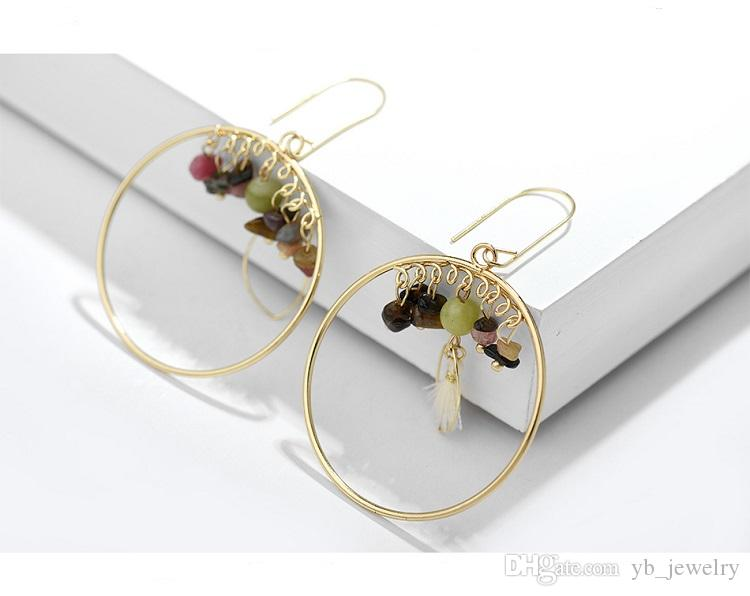 Creative New Europe & USA High-grade Circle Earrings Natural Stone Tassel Earrings Women's Gift Jewelry Earrings Factory Price Top Quality