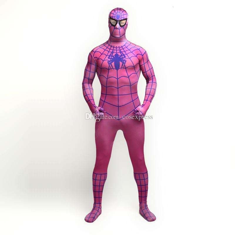 Venta caliente 2017 Lycra púrpura y azul Spandex mono de cuerpo completo clásico superhéroe Spider-man Cosplay Zentai traje disfraz para Halloween