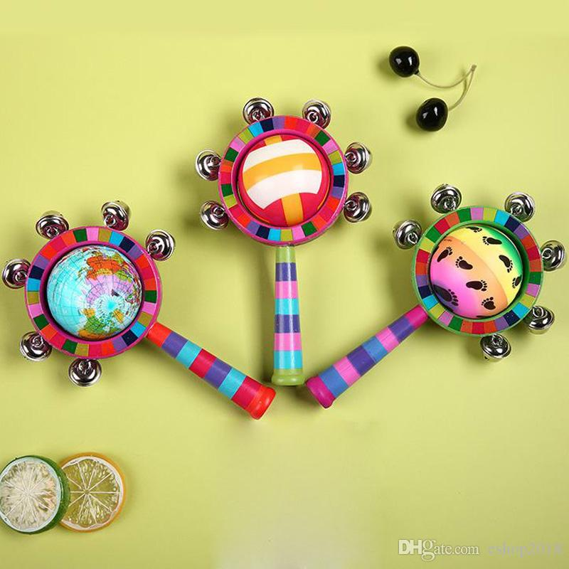 New creative baby toys colorful hand rattles solid wood bed bells environmental puzzle early childhood toys manufacturers wholesale