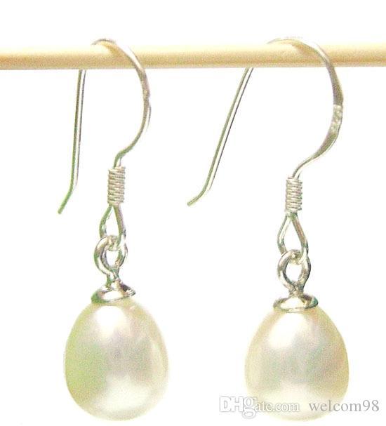 / Art- und Weiseschmucksache-Perlen-Ohrring-Silber-Haken für Geschenk-Fertigkeit-Schmucksache-Weiß C01 Freies Verschiffen