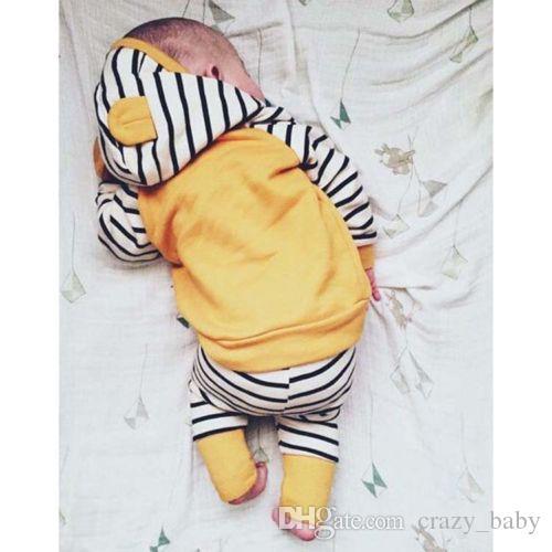 2 stücke Kleinkind Kinder Baby Jungen Mädchen Kleidung Mit Kapuze T-shirt Tops + Hosen Outfit Sets
