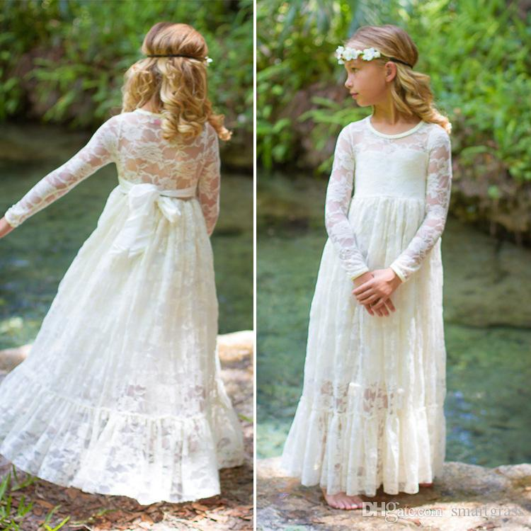 2017 Girls Princess Dress Kids Pageant Lace Maxi Dress Long Sleeve ...