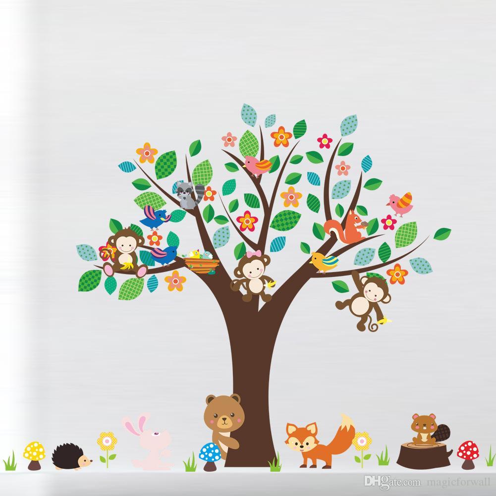 Cartoon Animals Monkey Bear Fox Hedgehog Birds Large Tree Wall Sticker Kids Room Nursery Decor Wallpaper Poster Decals Decorative Wall Mural