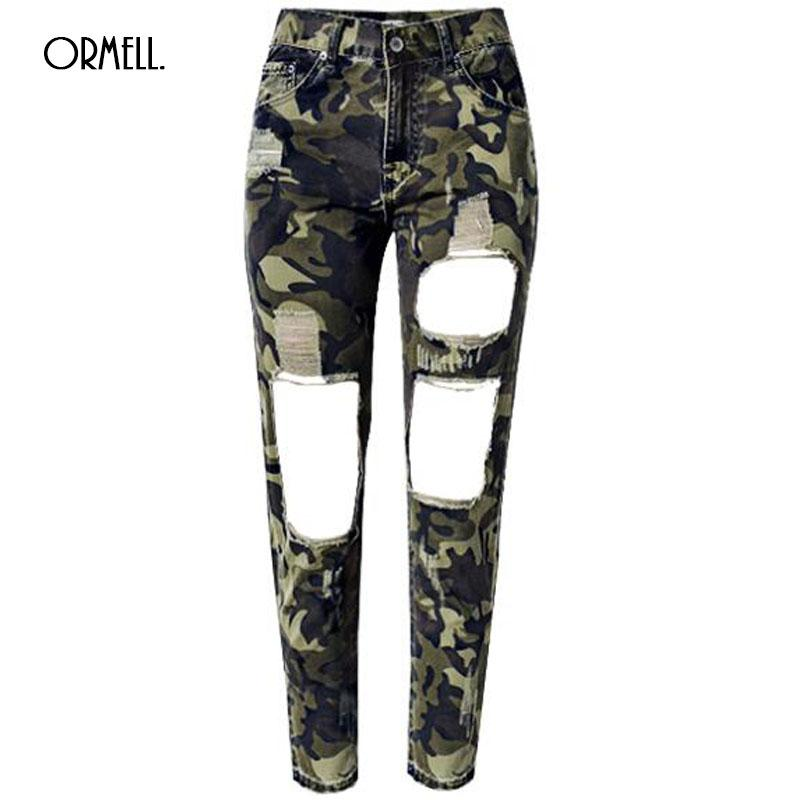 f3b7699afd26 Wholesale- ORMELL Women Jeans Skinny Pencil Hole Pants Ripped Denim ...