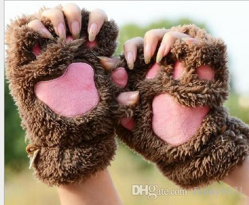 Halloween Christmas stage perform prop Cosplay cat bear Paw Claw Glove party favors Winter Cute Guanti di alta qualità gatti