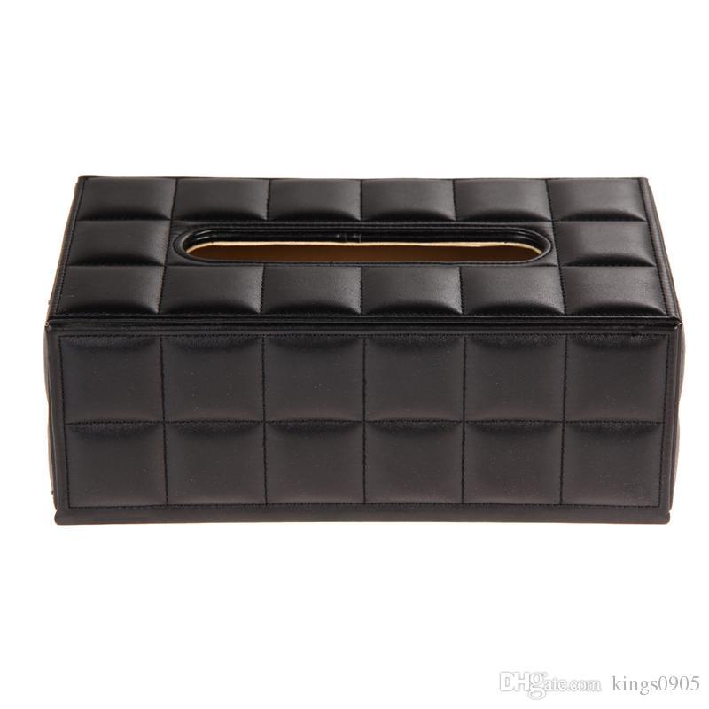 Tissue Box Cover Durable Home Car Desk Rectangle PU Leather Tissue Box Cover Napkin Paper Holder Black/White