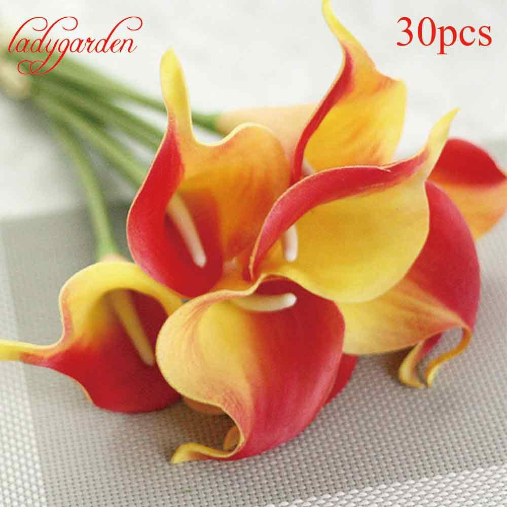 2018 Wholesale Decorative Flowers Calla Lily Pu Real Touch