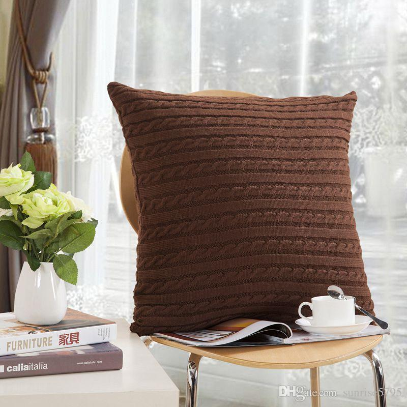 solid colors yarn knitted cushion cover 45cm zipper throw pillow case for chaise lounge chair nordic gray white beige almofada
