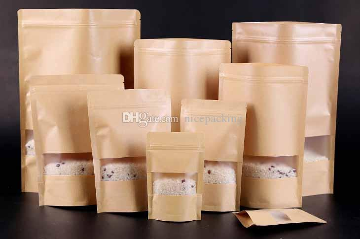 Moisture-proof Bags,Kraft Paper with visual frosted window Stand UP Pouch, Ziplock Packaging Bag for Snack Candy Cookie mini order