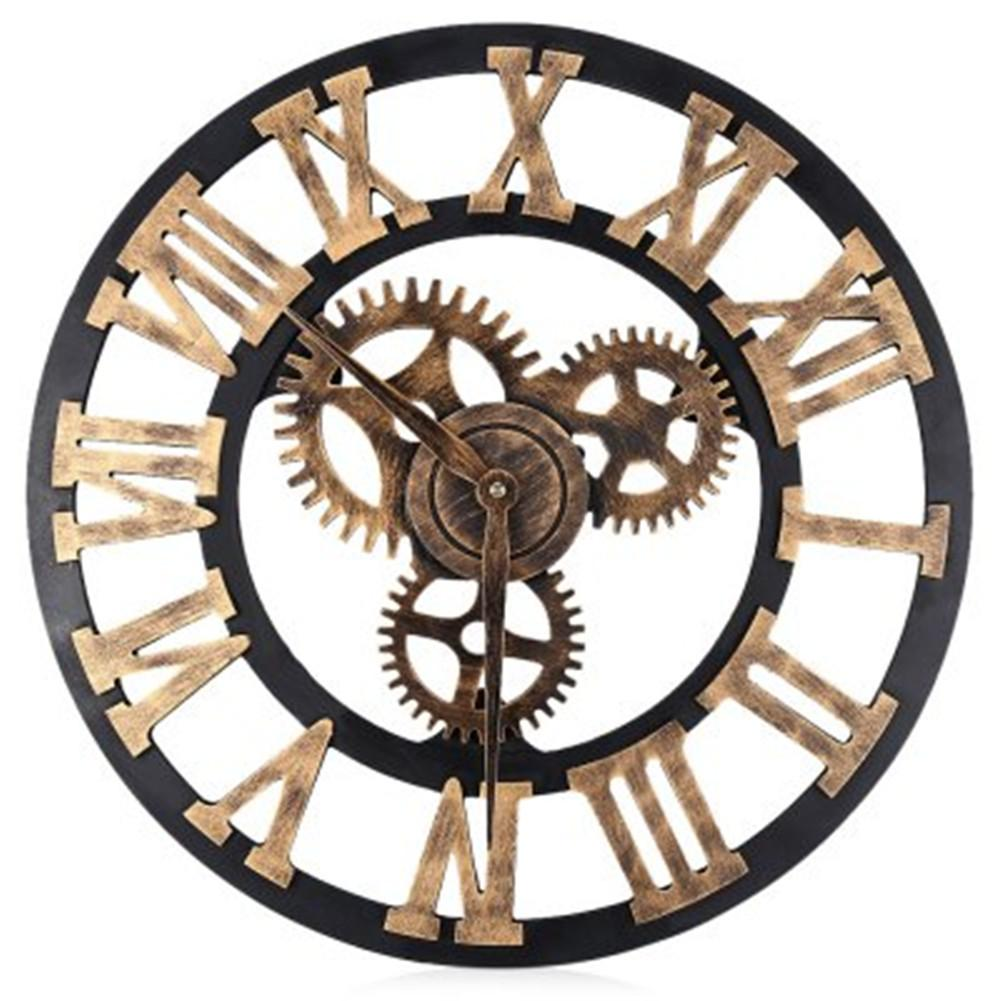 Wall Clock Wheel Gear Antique Wooden Round Rustic Roman Numerals Silent Large  Kitchen Wall Clock Large Kitchen Wall Clocks From Autoobder, $15.9|  Dhgate.Com