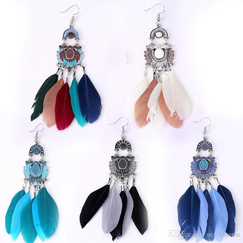 2019 Trendy Ethnic Earrings New Fashion 2017 Vintage Feather Earrings  Geometric Tassel Earing Latest Jewellery Designs Vintage Accessories B623S  From Sea ... 8f85bf2b7eee