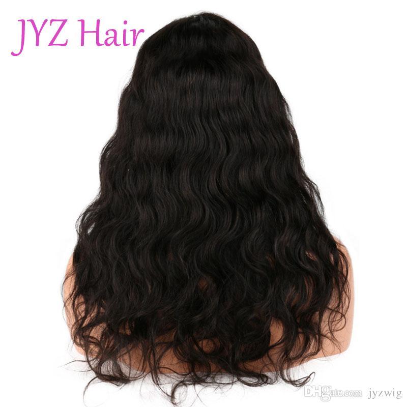 Color natural Pelucas llenas del cordón Cabello humano de la onda del cuerpo Pelucas de pelo humano brasileño peruano indio de la onda del cuerpo del cordón brasileño con el pelo del bebé