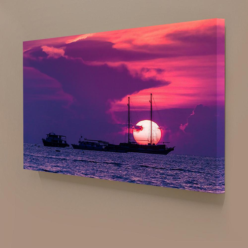 2017 hd sunset pink seascape u0026 boat canvas painting home decor